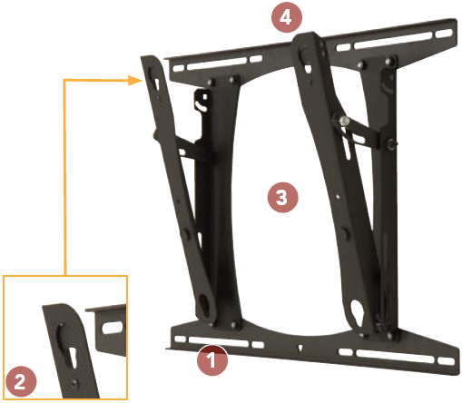Chief PROU Lockable Tilt Wall Mount for 37 to 65 inch Large Flat Panel Displays