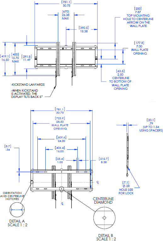 Technical Drawing for Chief RLF2 Low Profile Large Hinged Fixed Wall Mount