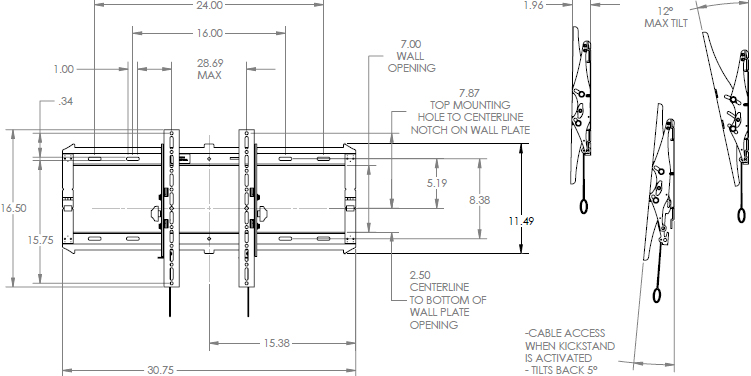 Technical Drawing for Chief RLT2 Large FIT Low-Profile Tilt Wall Mount (42-86