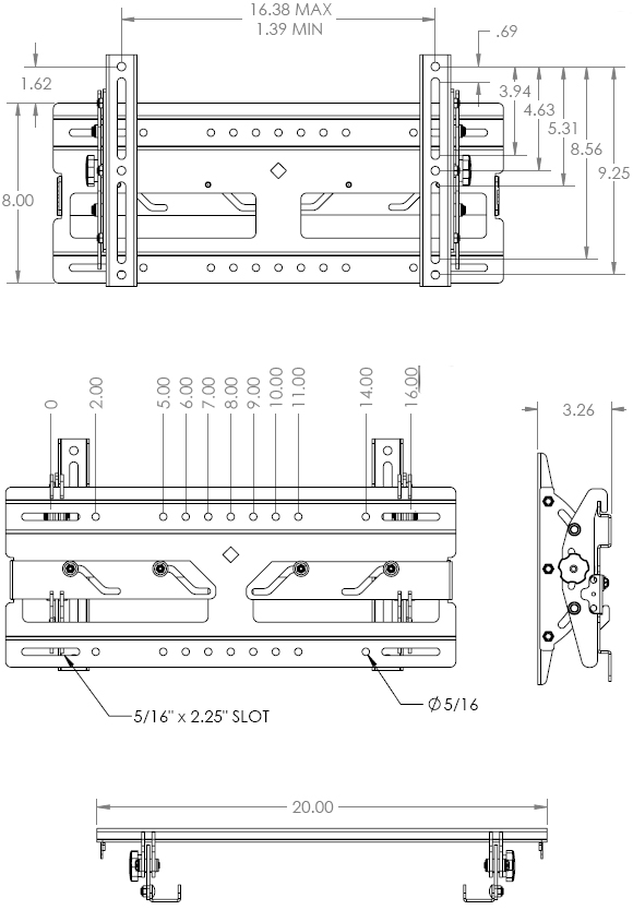 Technical Drawing for Chief RMT1 Medium Flat Panel Universal Tilt Wall Mount up to 40 inch Displays