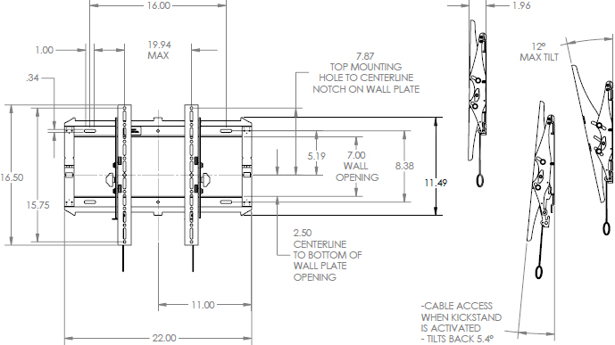 Technical Drawing for Chief RMT2 Medium FIT Low Profile Tilt Wall Mount (32-65