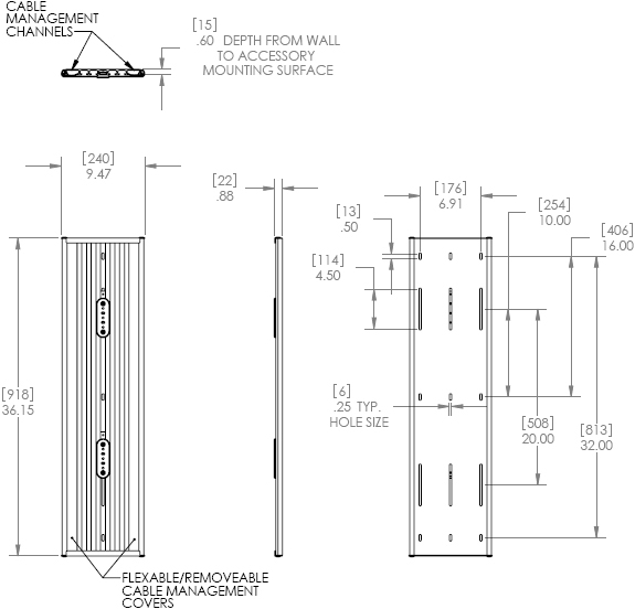Technical Drawing for Chief KWT110B or KWT110S Wall Track