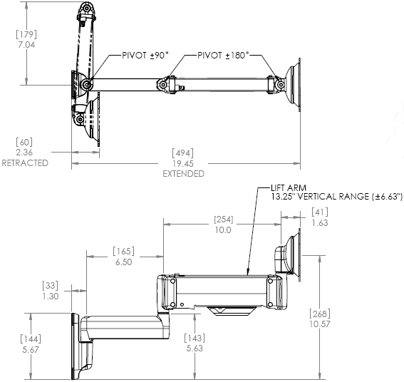 Technical Drawing for Chief KWT110S or KWT110B Height Adjustable Monitor Mount