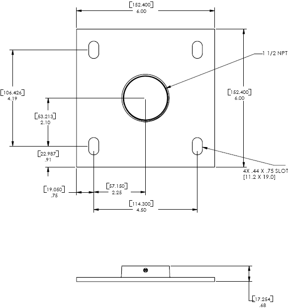 Technical Drawings for Chief CMA-115 Flat 6 inch Ceiling Plate