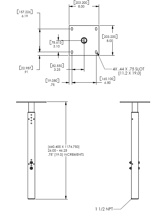 Technical Drawing for Chief CMA-100 Ceiling  Plate with Adjustable NPT Column