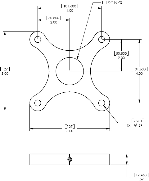 Technical Drawing for Chief CMA-101 Designer Ceiling Plate
