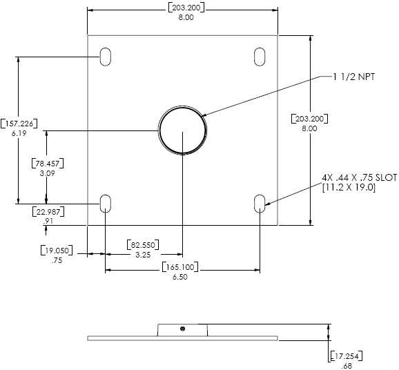 Technical Drawings for Chief CMA110 - 8 inch Ceiling Plate