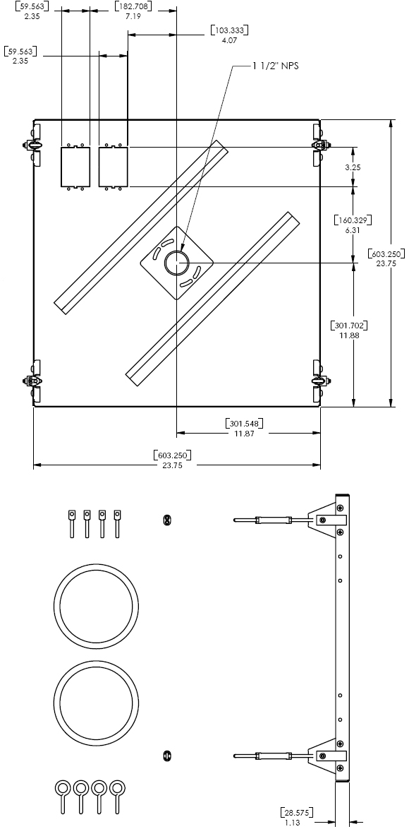 Technical Drawing for Chief CMA455 Suspended Ceiling Tile Replacement Kit