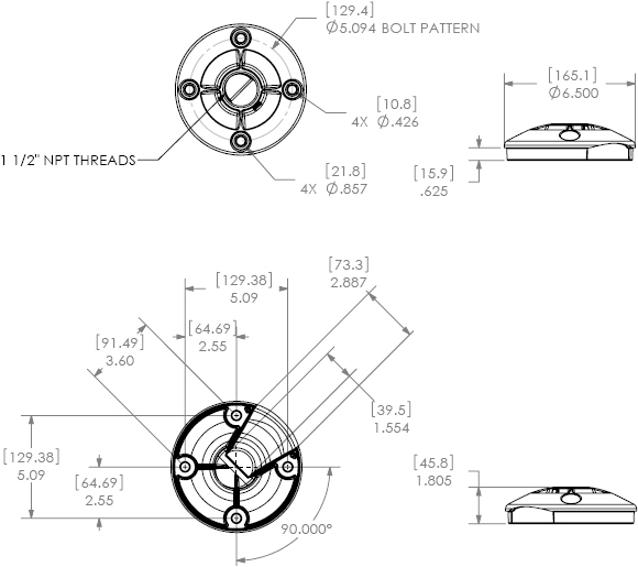 Technical Drawing for Chief CMS115 Speed-Connect 6 inch Ceiling Plate