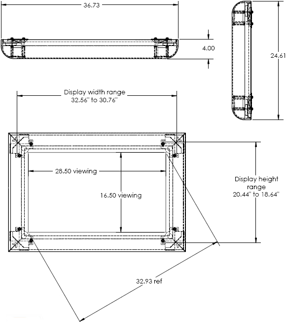 Technical Drawing for Chief DGP32B Flat Panel Protective Display Cover
