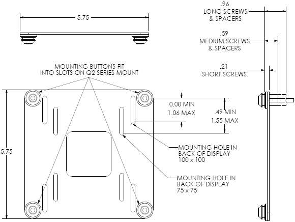 Technical Drawing for Chief FSB4100 VESA Interface Bracket for Displays
