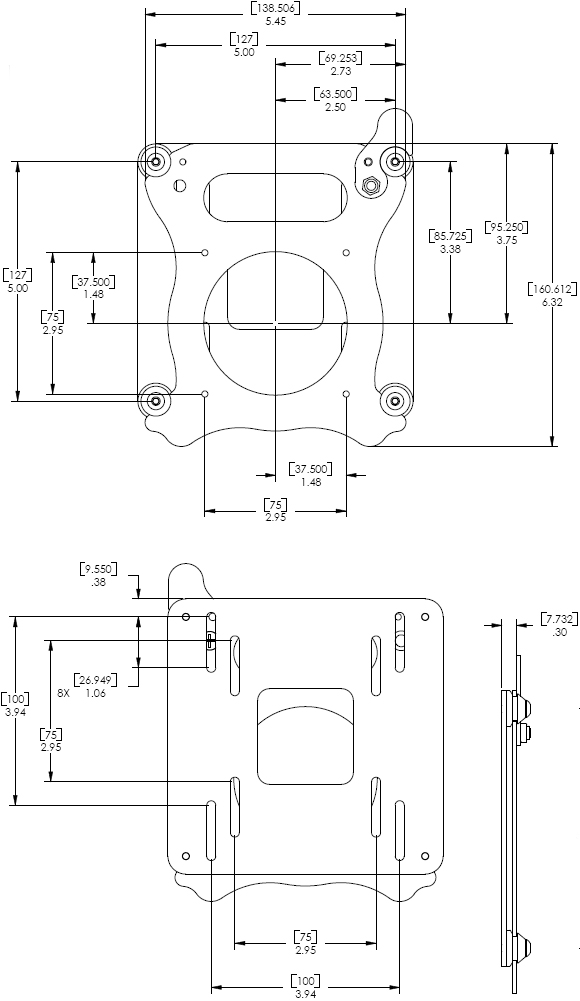 Technical Drawings for Chief KSA1007 Quick Release Bracket