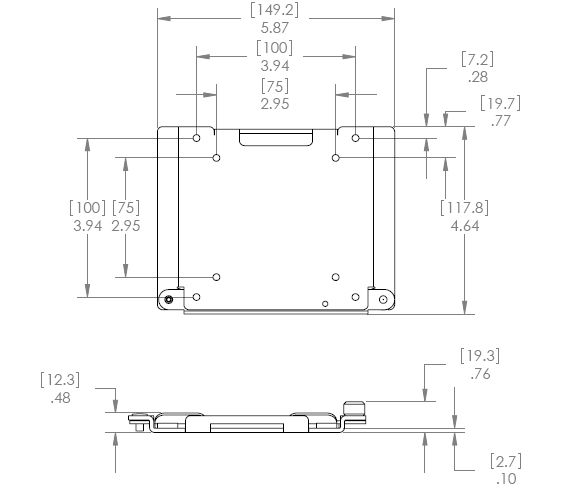 Technical Drawing for Chief Centris Quick Connect Bracket KSA1024B