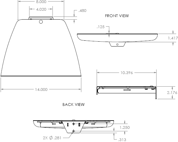 Technical Drawing for Chief PAC101B Accessory Shelf