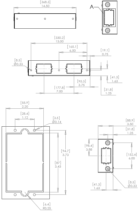 Technical Drawing for Chief PAC522 Flat Panel Pre-Wire In-Wall Box
