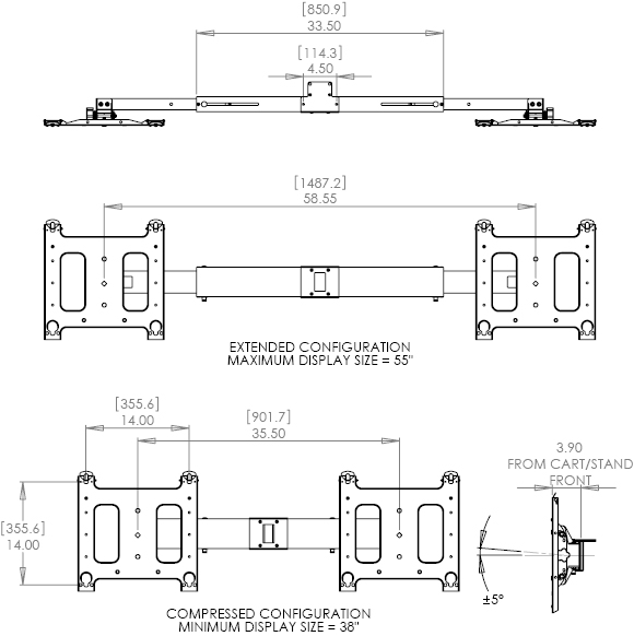Technical Drawing for Chief PAC722 Dual Side-by-Side Accessory Black