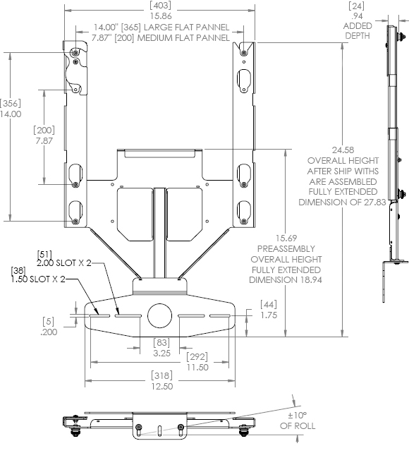 Technical Drawing for Chief PACCC1 Center Channel Speaker Adapter
