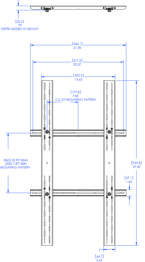 Technical Drawing for Chief PSBU Universal Interface Bracket