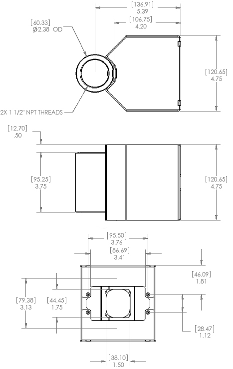 Technical Drawing of Chief CMA502 Single Electric Outlet Coupler Black