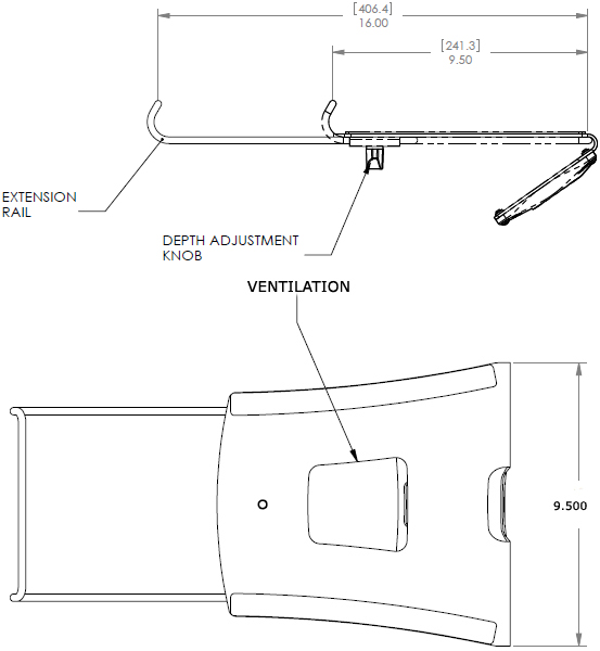 Technical Drawing of Chief KRA300 Series KONTOUR Notebook Tray for K1 Mounts