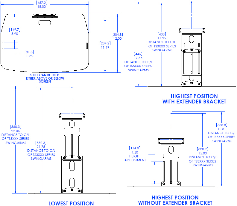Technical Drawing of Chief TA100 Thinstall Component Shelf Black