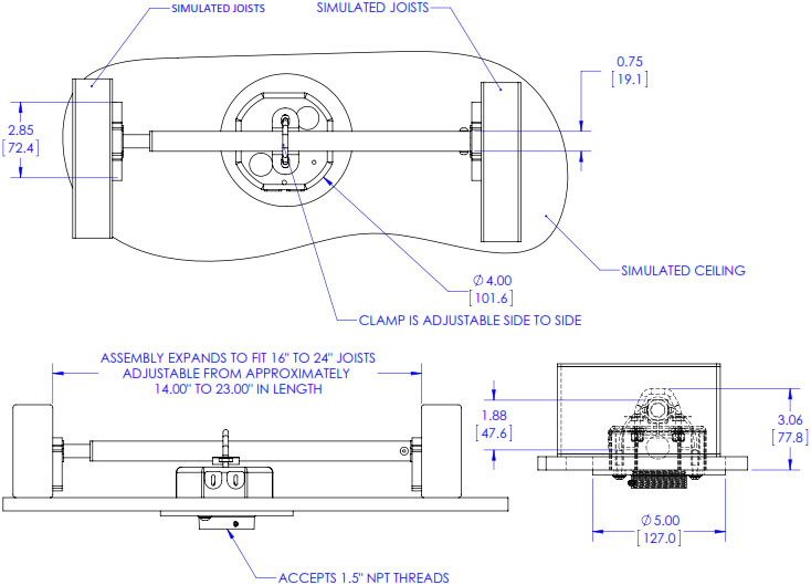 Technical Drawing for Chief CMA165 Internal Joist Junction Box Structural Adapter