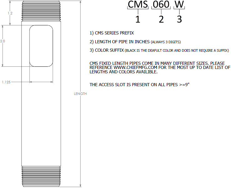 "Technical drawing for Chief Speed-Connect Fixed Column 1.5"" OD, Various Lengths"