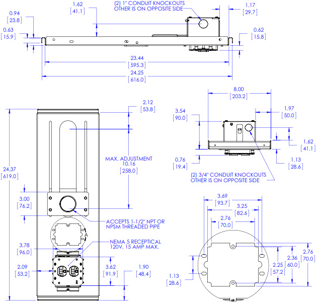 Technical Drawing of Chief CMS440P Lightweight Suspended Ceiling Kit, Power Outlet