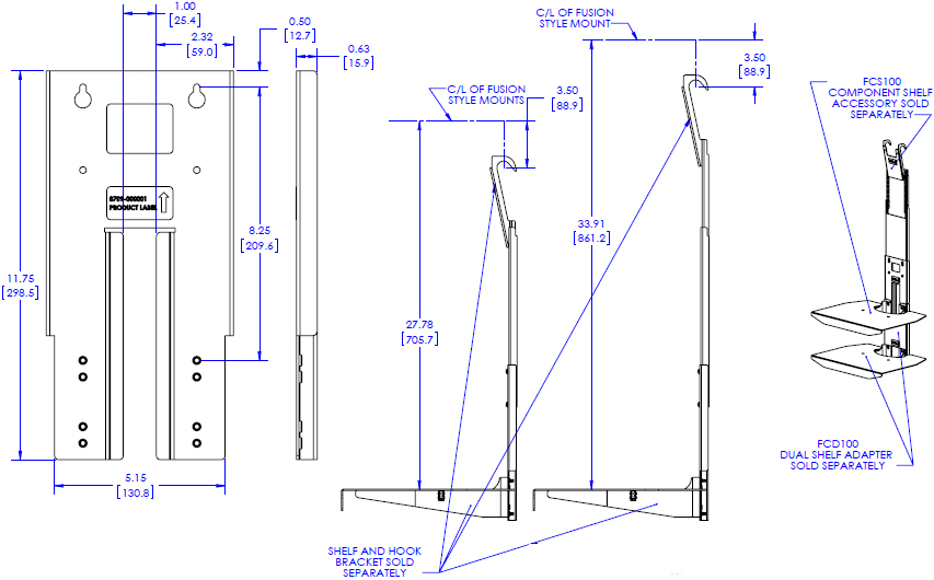 Technical Drawing for Chief FCA104 FUSION Component Shelf Extender