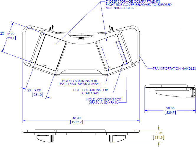 Technical Drawing for Chief FCA613 FUSION Large Height-Adjustable Accessory Shelf