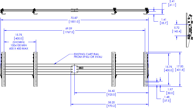 Technical drawing for Chief FCA623 FUSION Dual Monitor Accessory for XPAU & XVAU Carts