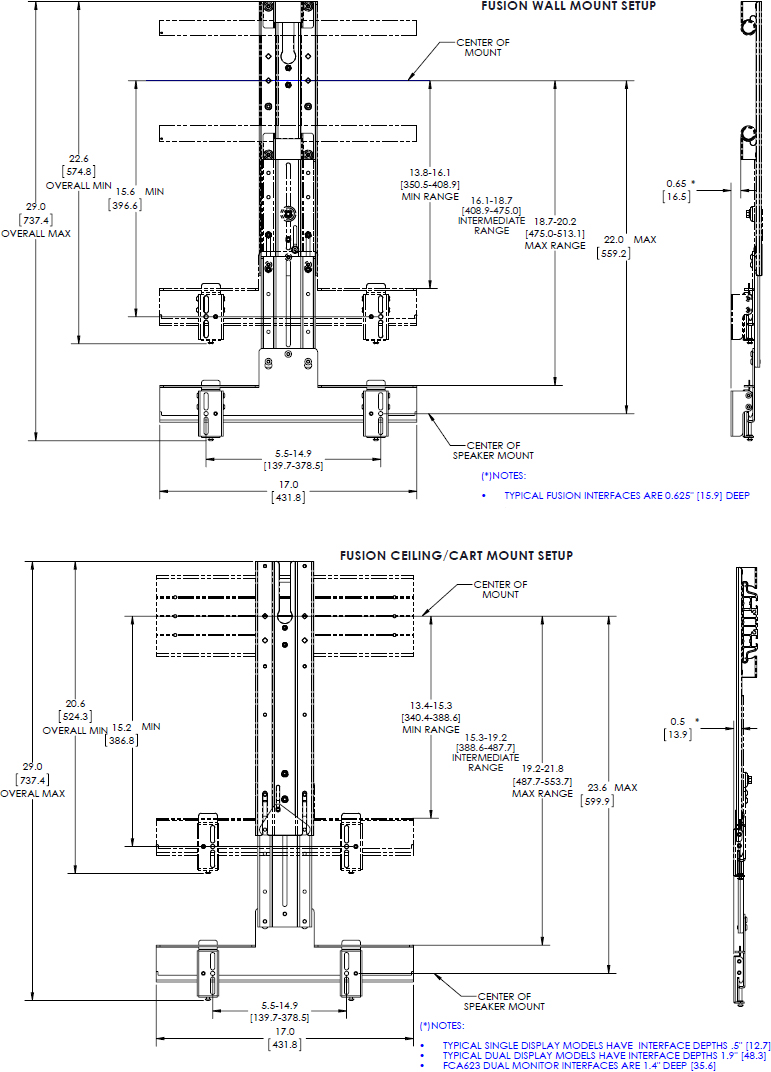 "Technical drawing for Chief FCA800 Fusion 8"" Above or Below Shelf for Large Displays"