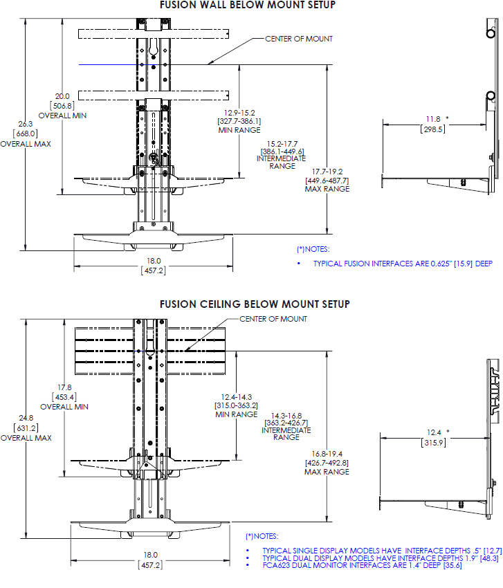 Technical drawing for Chief FCA802 Fusion Lower Component Shelf for Large Displays