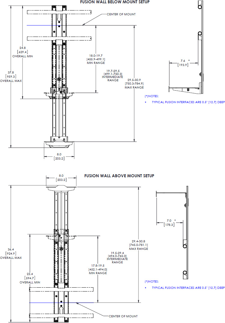"Technical drawing for Chief FCA810 Fusion 8"" Above/Below Shelf for XL Displays"