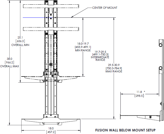 chief fca812 fusion lower component shelf for xl displays