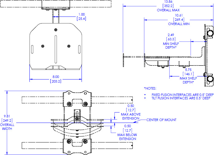 Technical drawing for Chief FCA820 Fusion Center Camera Shelf - 8""