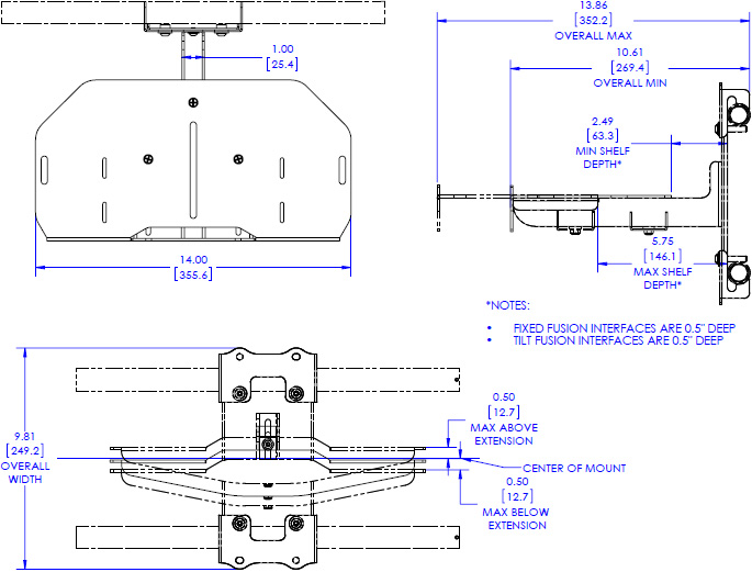 Technical drawing for Chief FCA821 Fusion Center Camera Shelf - 14""