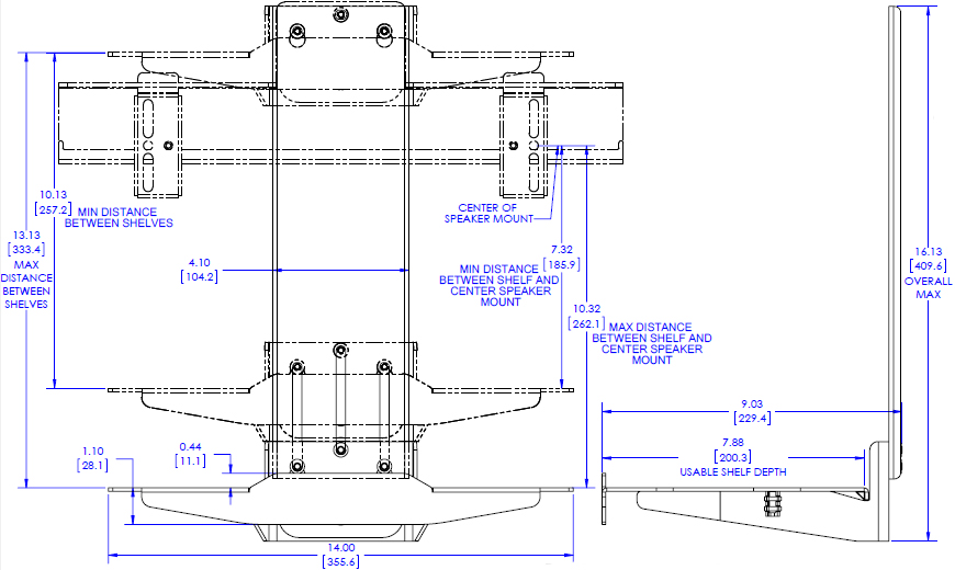 Technical Drawing for Chief FCA870 Fusion Stackable Component Shelf