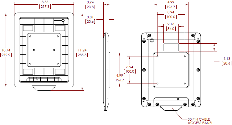Technical Drawing for Chief FSBI2TB iPad Secure Interface Bracket