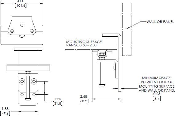 Technical drawing for Chief KRA219 Kontour K1 and K2 Narrow-Gap Table Clamp Kit