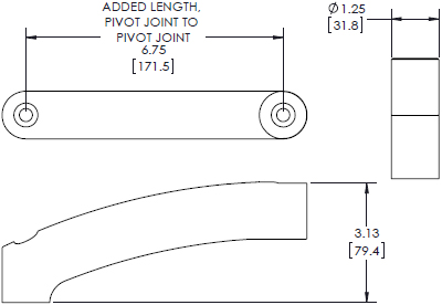 Technical drawing for Chief KRA220B or KRA220S Kontour K1 & K2 Extension Arm