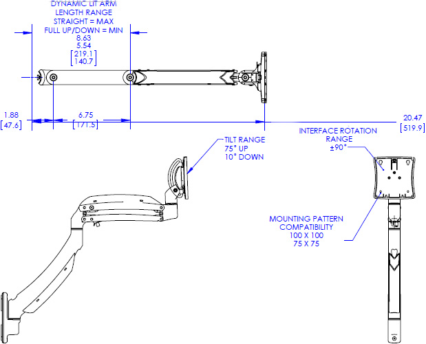 Technical drawing for Chief KRA221B or KRA221S Kontour K1C Expansion Arm Kit