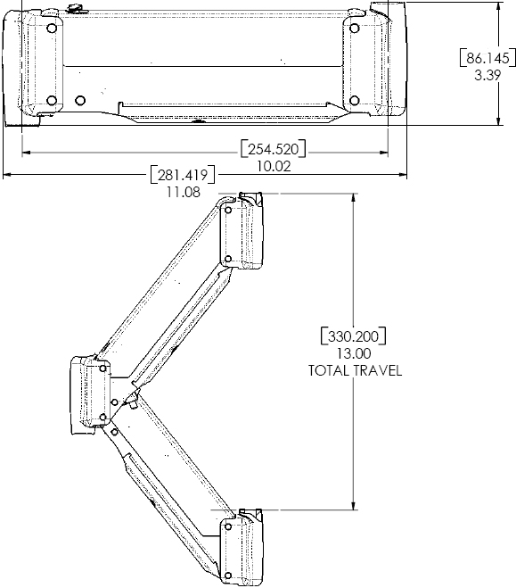 Technical Drawings for Chief KSA1004 Height Adjustable Extension Arm