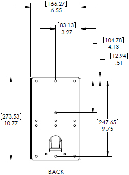 Technical Drawing for Chief KSA1018B or KSA1018S Small Flat Panel Metal Stud Accessory