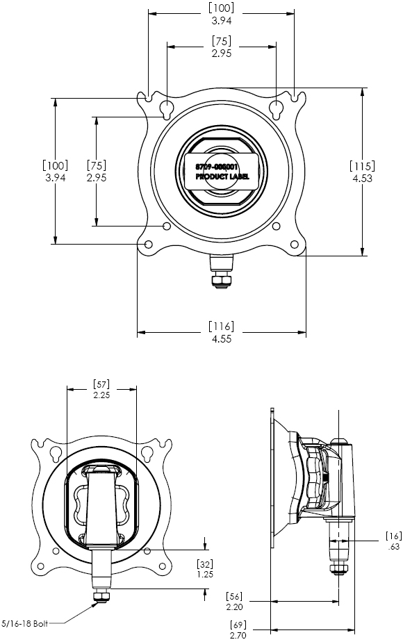 Technical Drawing for Chief KSA1019B Centris Turntite Head Accessory