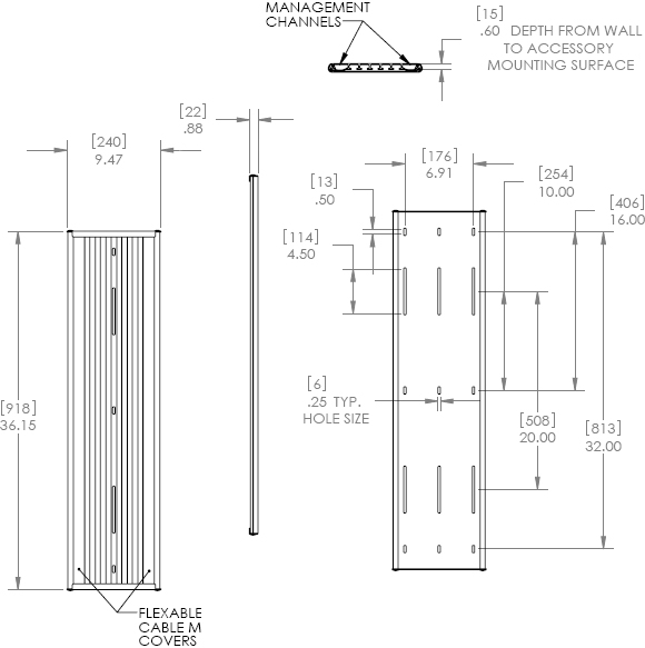 Technical Drawing for Chief KSA1022 Wall Extrusion Black