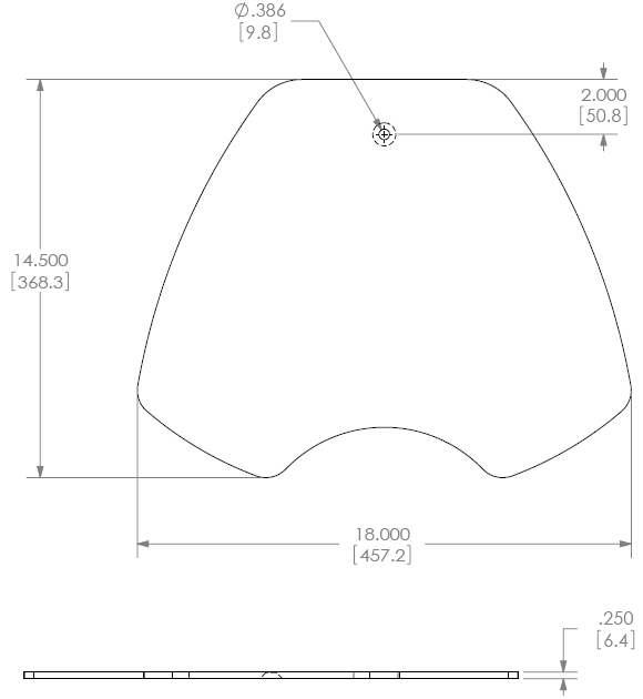 Technical Drawing for Chief KTA1002B Free Stand Base
