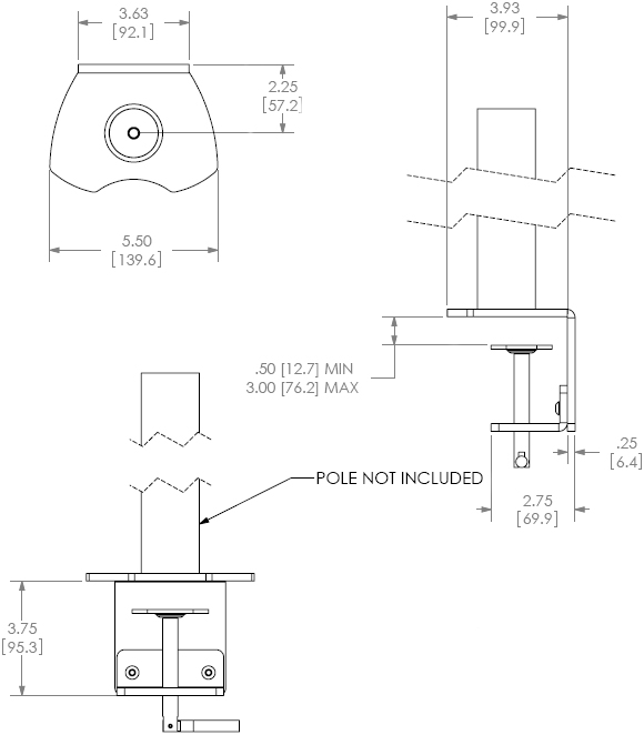 Technical Drawing for Chief Array Desk Clamp Accessory KTA1004B or KTA1004S