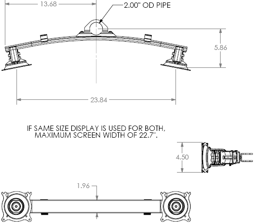 Technical Drawing for Chief KTA220 Dual Horizontal Array Pole Clamp