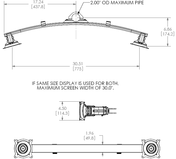 Technical Drawing for Chief KTA225B or KTA225S Widescreen Dual Monitor Pole Clamp